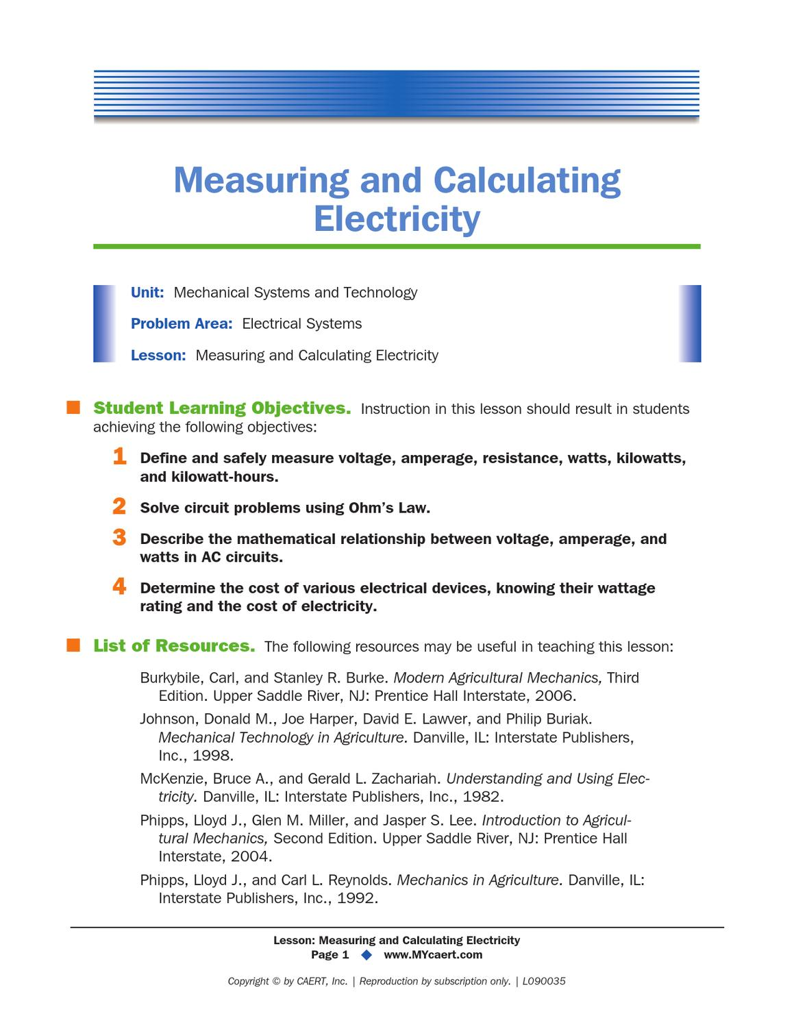 Measuring And Calculating Electricity By Steven Ellis Issuu Ac Circuit Calculator