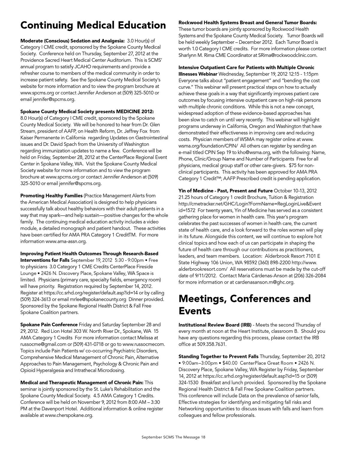 The Message, September 2012 by Spokane County Medical