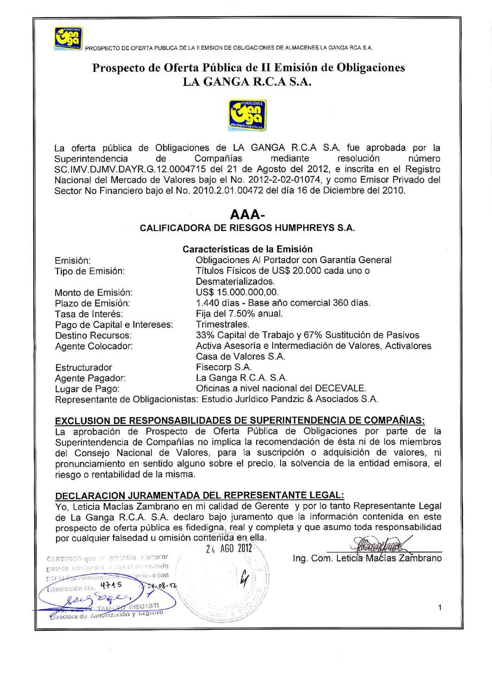 Segunda Emisión de Obligaciones de Almacenes La Ganga by Bolsa de ...