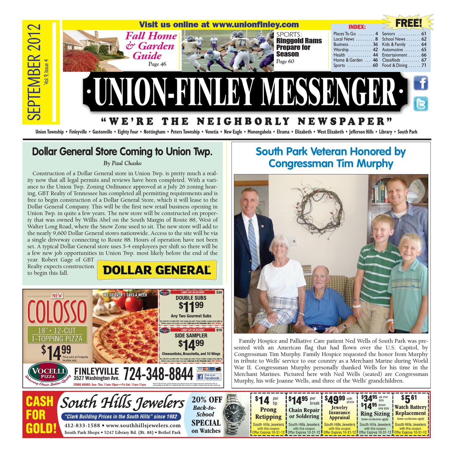Union Finley Messenger September 2012 by South Hills Mon Valley