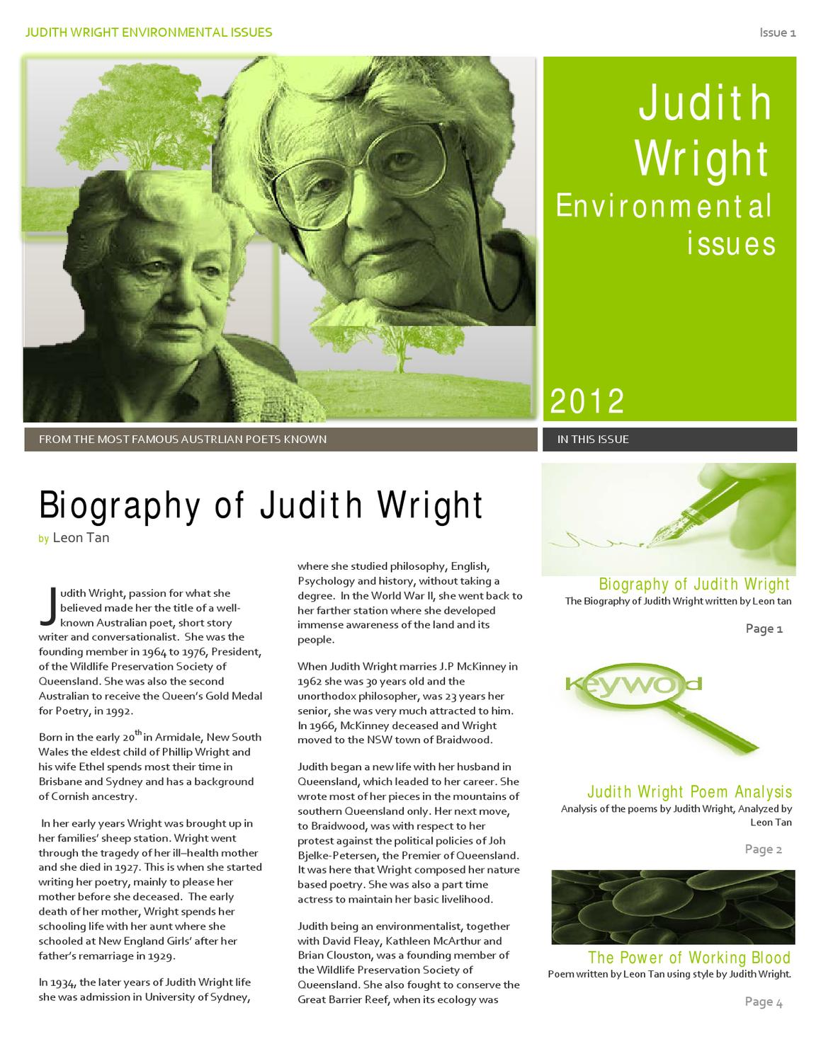 An analysis of the australian aspect in judith wrights poetry