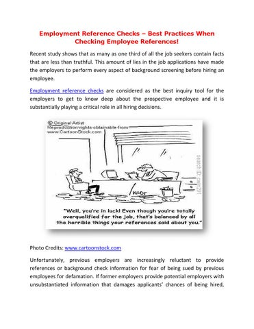 employment reference checks best practices when checking employee