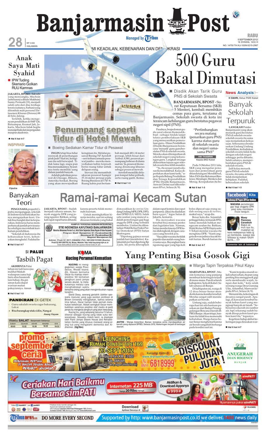 Banjarmasin Post Edisi Rabu 5 September 2012 By Kue Mawar Nuris Bakeri Ampamp Caterring Akumandiri Issuu