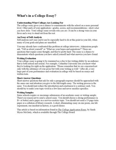 Articles What's in a College Essay by Saint Maur