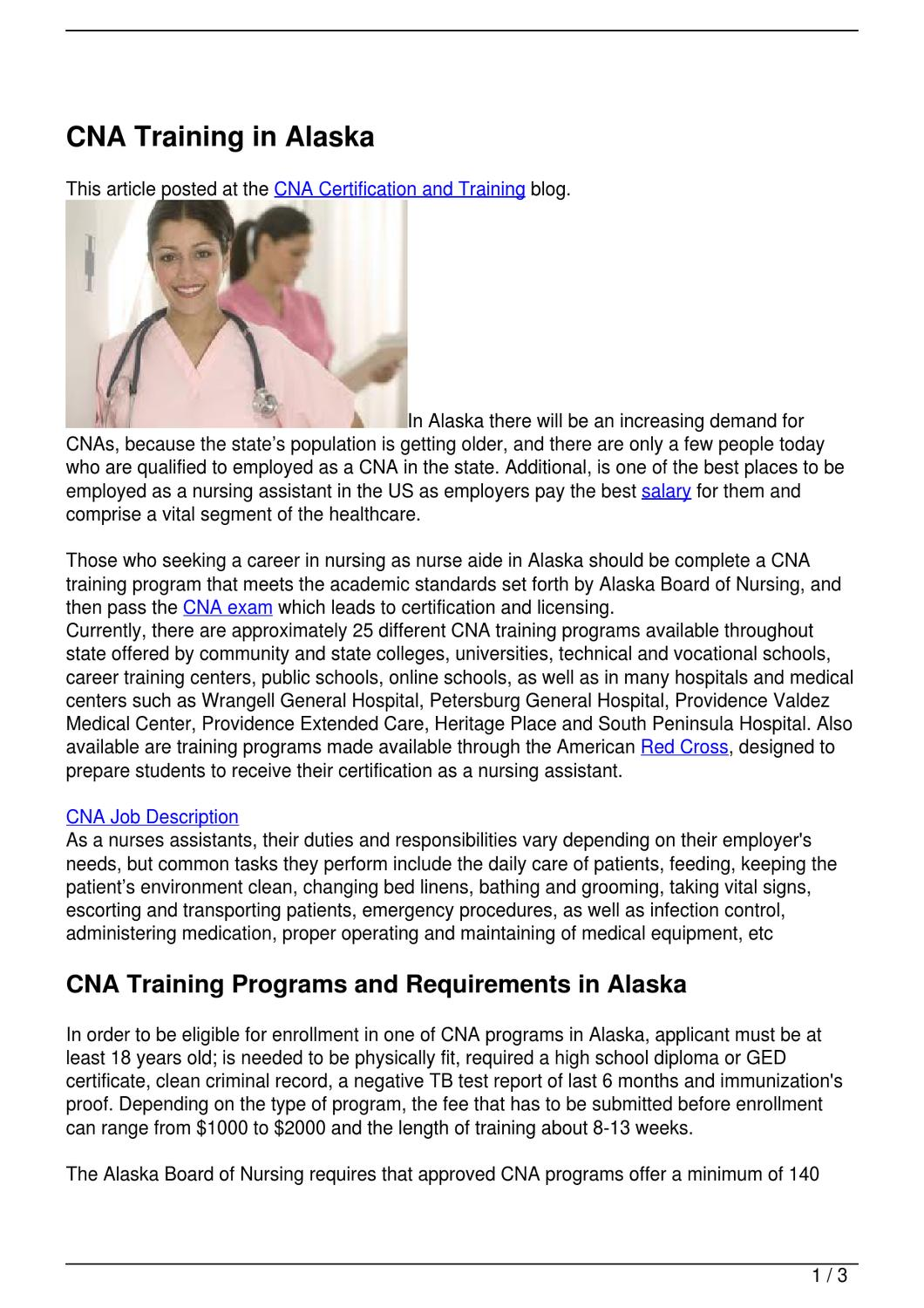 CNA Training In Alaska By Becky Vallejo Issuu