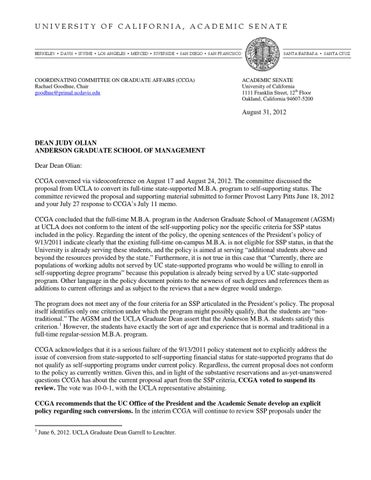 Letter Rejecting SelfSufficiency Proposal By Ucla Anderson School