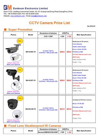 Eonboom CCTV Camera price list-2012 07 by rossa fang - issuu