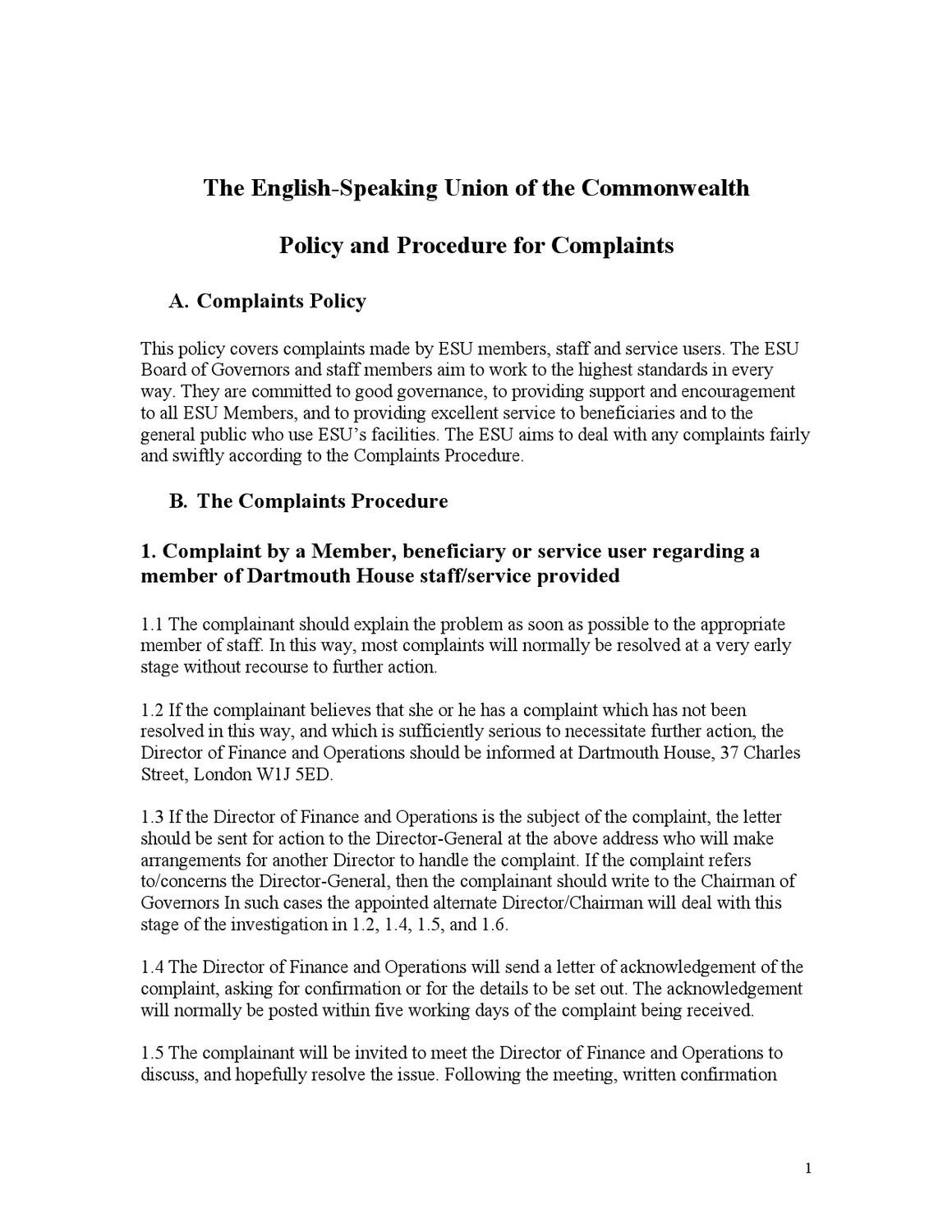 ESU-Complaints-Policy-July-2012 by The English-Speaking