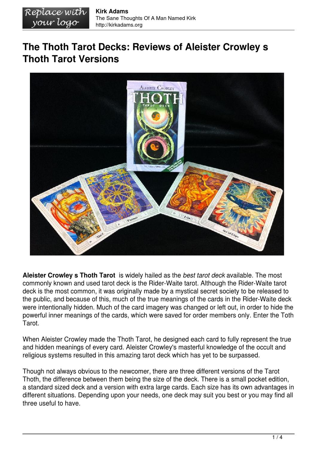 The Thoth Tarot Decks: Reviews Of Aleister Crowley S Thoth