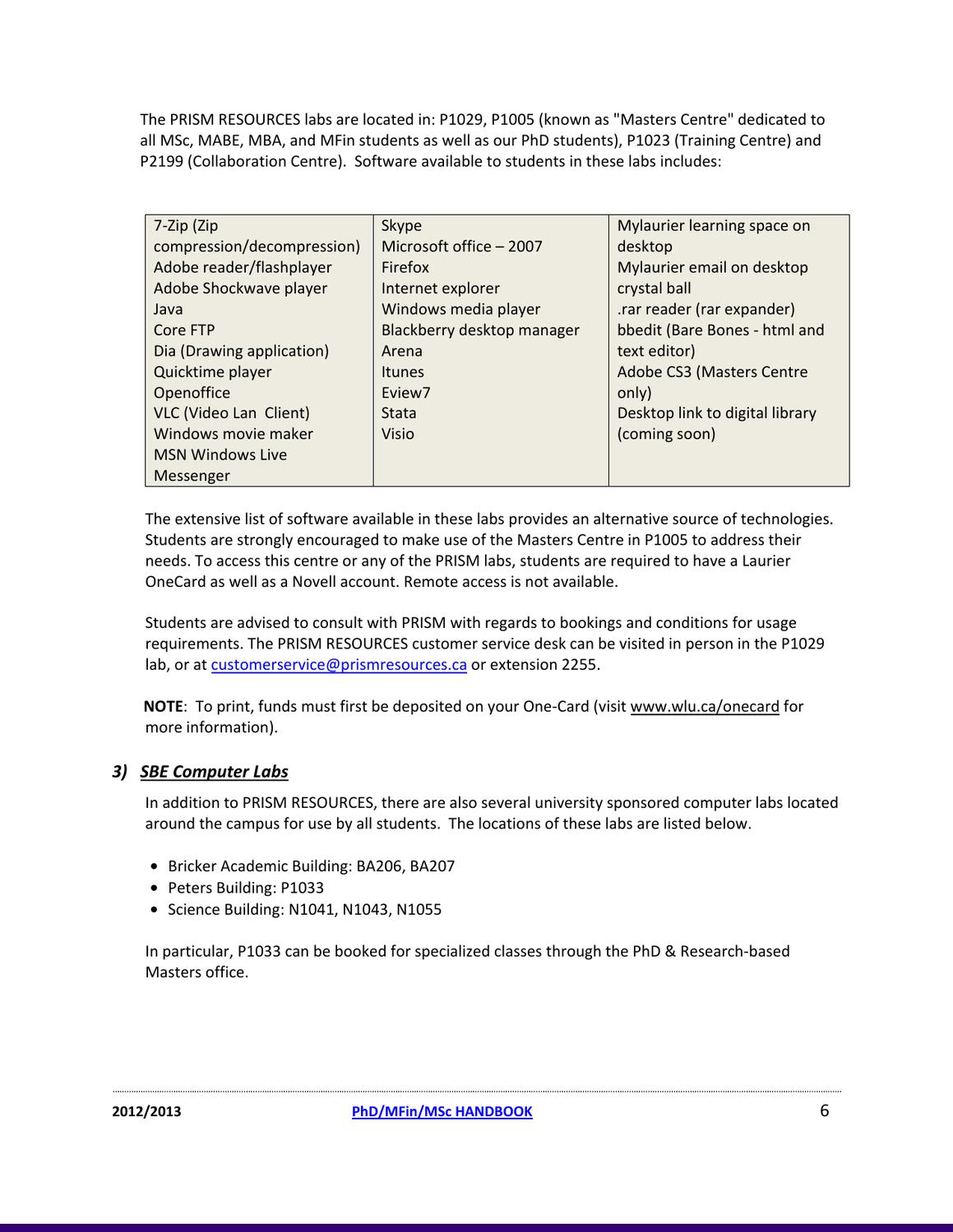 Laurier Busines Graduate Handbook