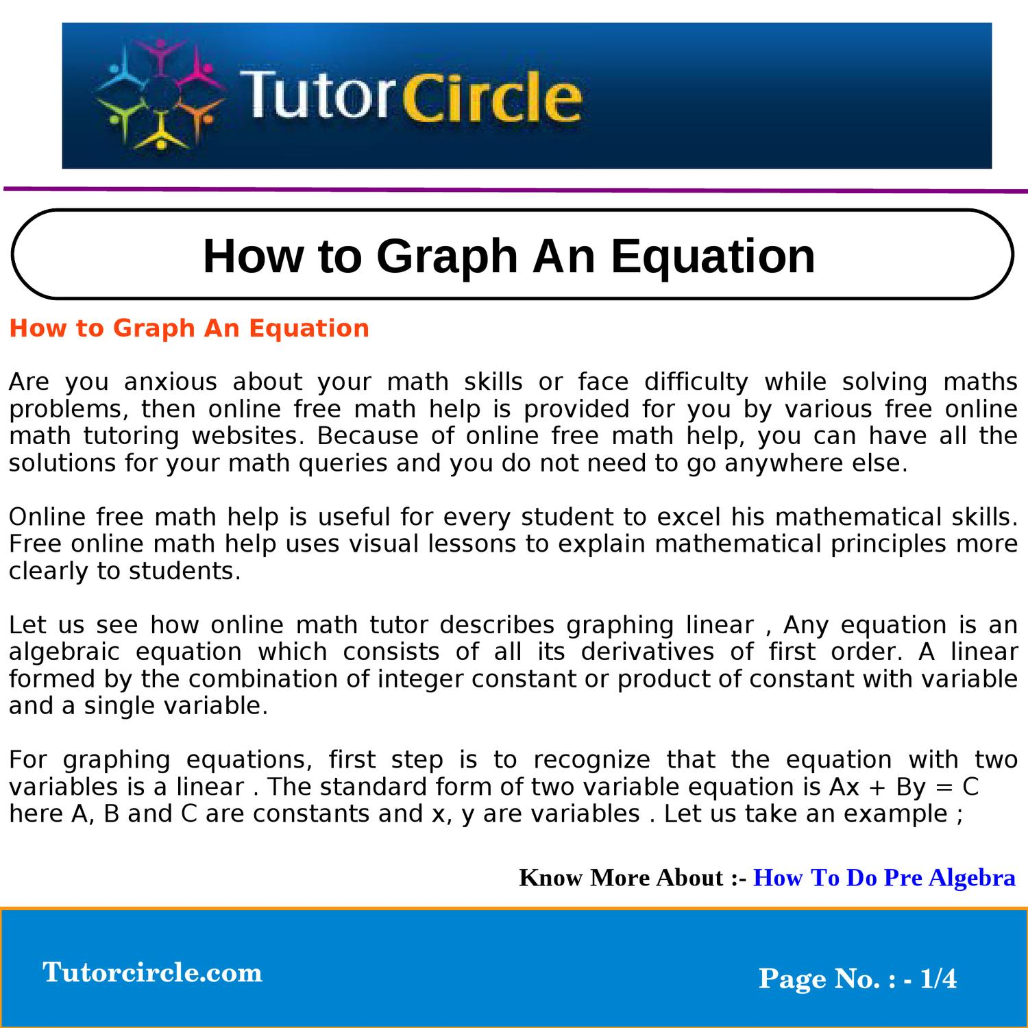 How to Graph An Equation by circle team - issuu