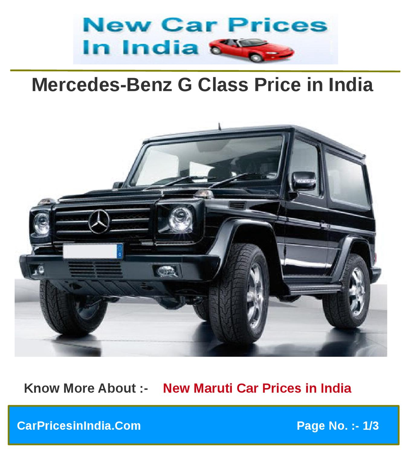 Mercedes Benz G Class Price In India By Microsite Team   Issuu