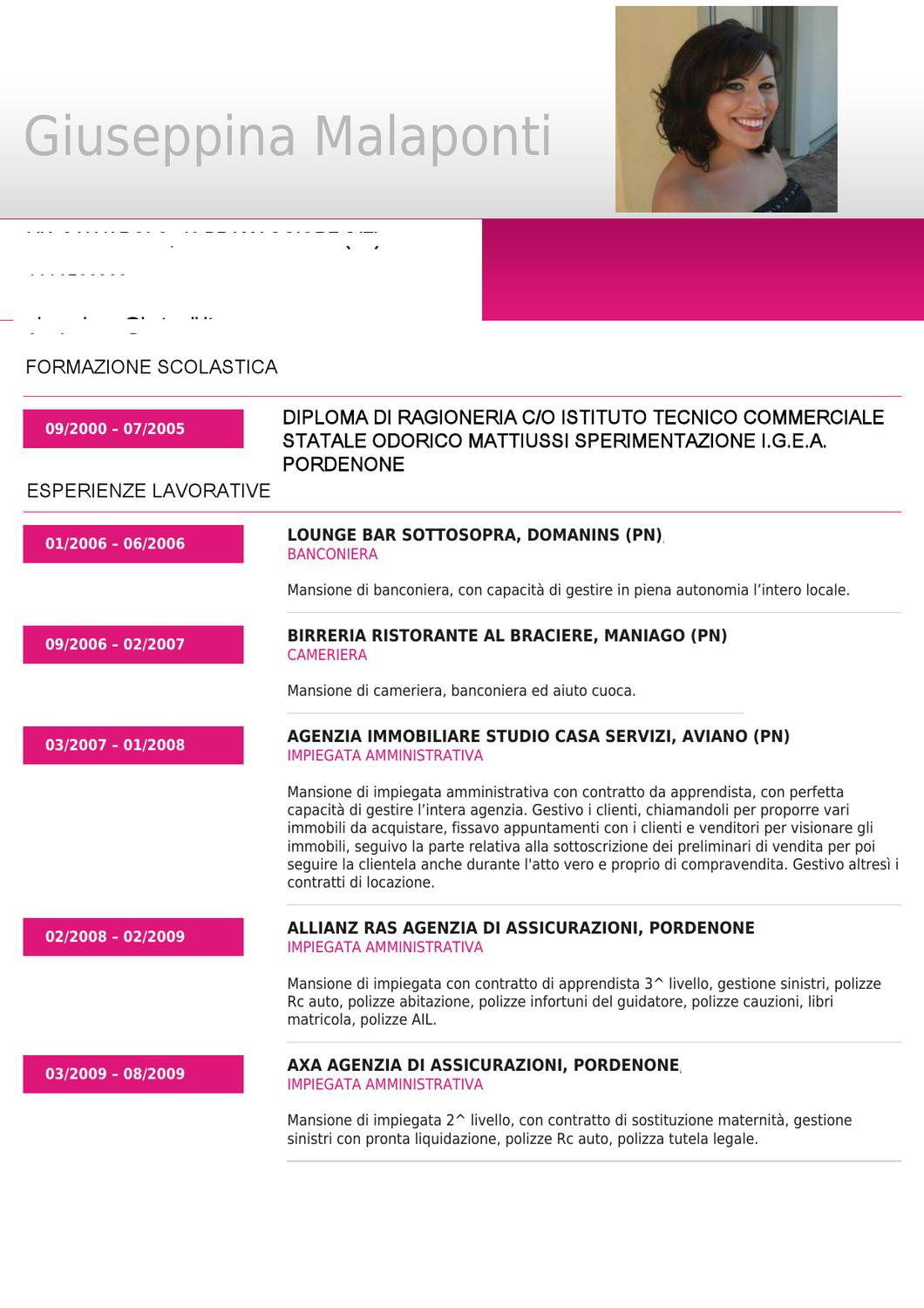 Curriculum Vitae By Giuseppina Malaponti Issuu