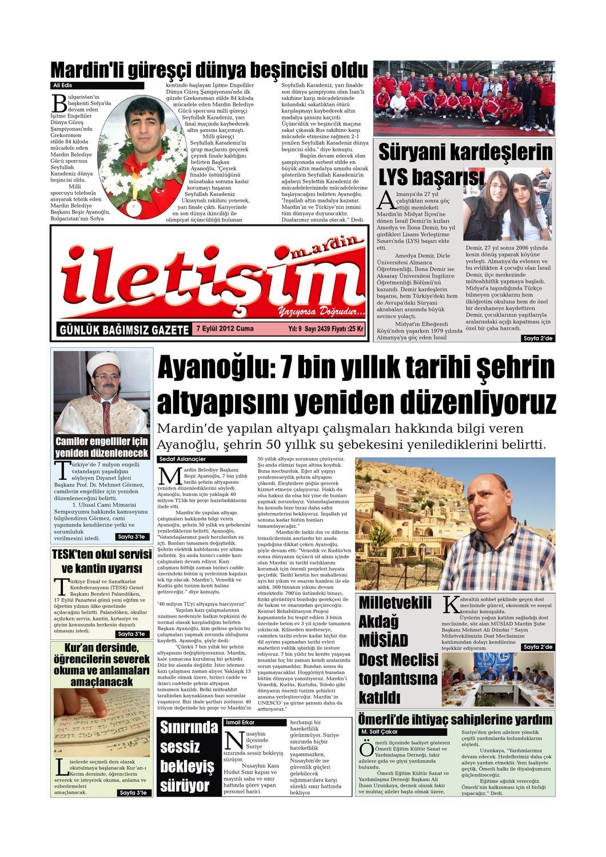 7 Eylul 2012 Cuma Gazete Sayfalari By Mardin Iletisim Gazetesi Issuu