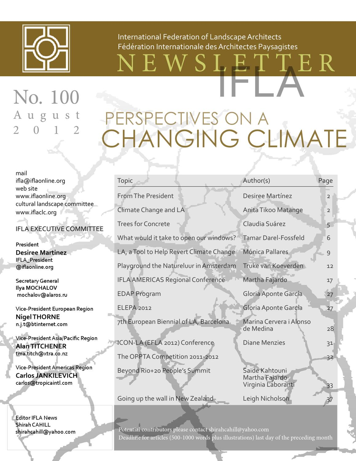 Perspective on a changing climate by international for International federation of landscape architects