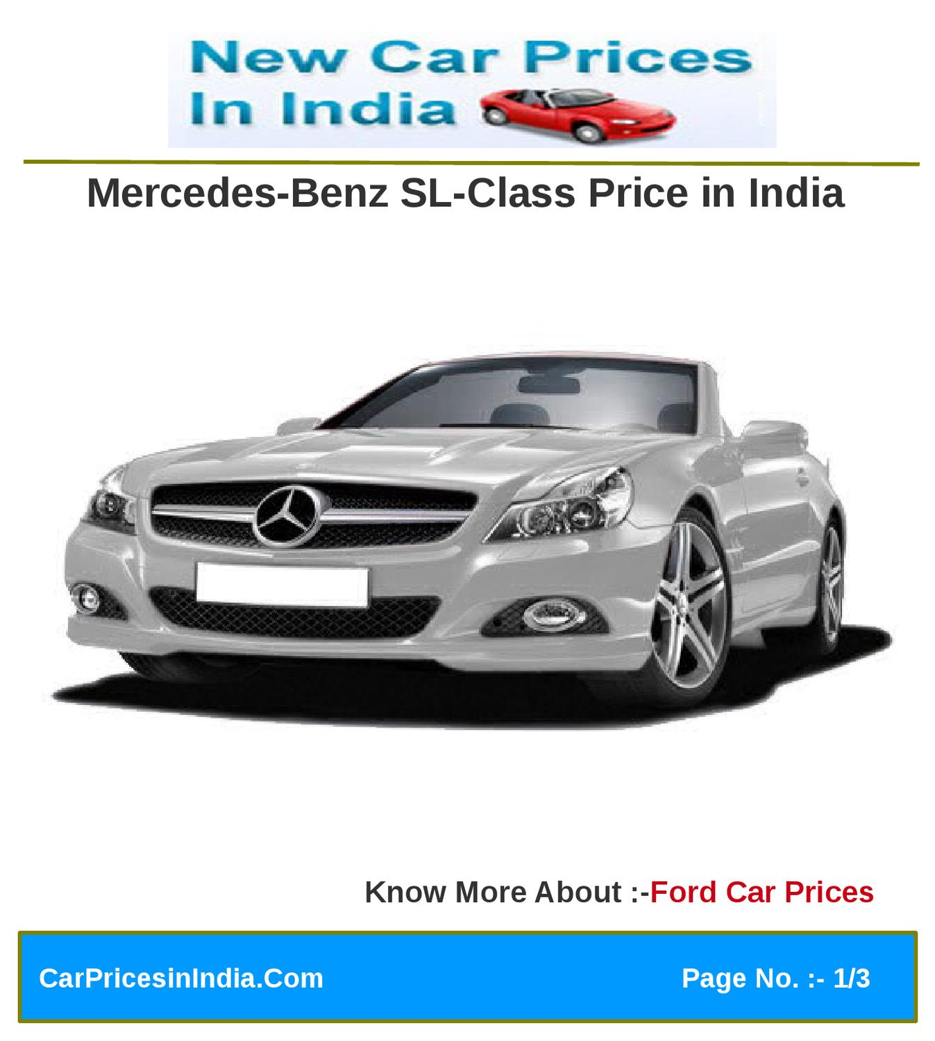Mercedes-Benz SL-Class Price In India By Microsite Team