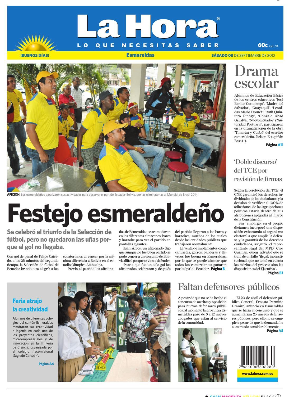 c8fd261c63f2a Edicion impresa Esmeraldas del 08 de septiembre de 2012 by Diario La Hora  Ecuador - issuu