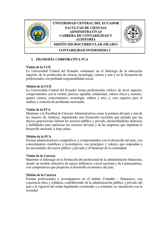 Sílabo de Contabilidad Intermedia I by Ulises Fabián Alvarez ...