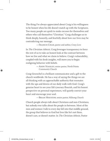 The christian atheist by david kirschke issuu the thing ive always appreciated about craig is his willingness to be honest when his life doesnt match up with the scriptures too many people are quick fandeluxe Image collections