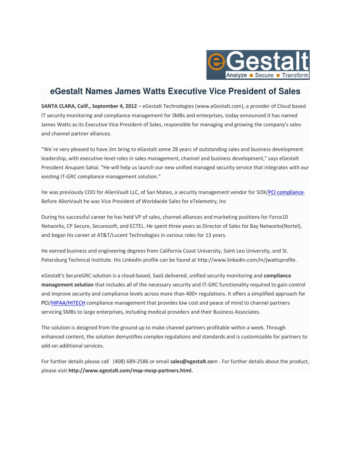 Egestalt names james watts executive vice president of sales by aegify inc issuu