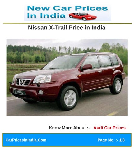 Nissan X Trail Price In India By Microsite Team Issuu