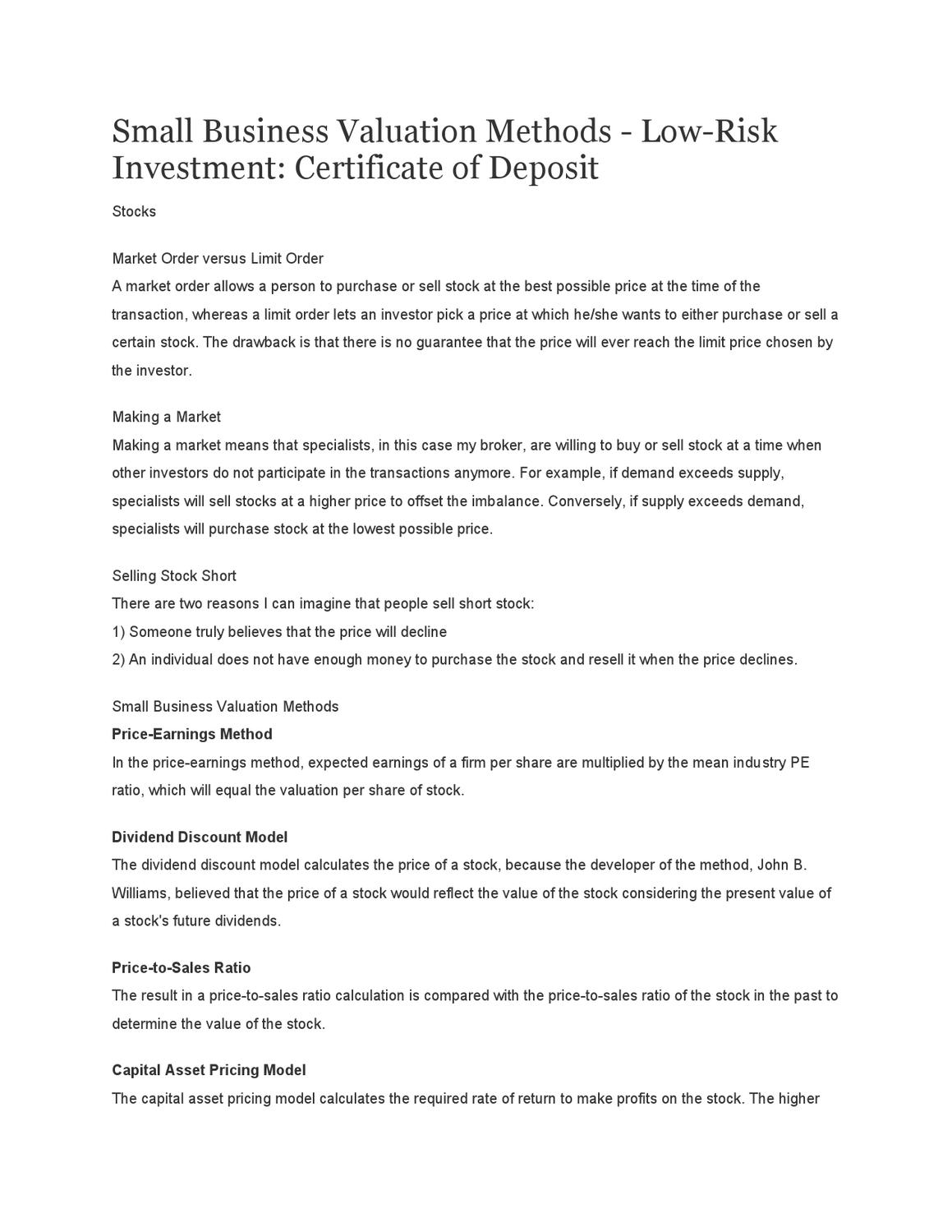 Small Business Valuation Methods Low Risk Investment Certificate