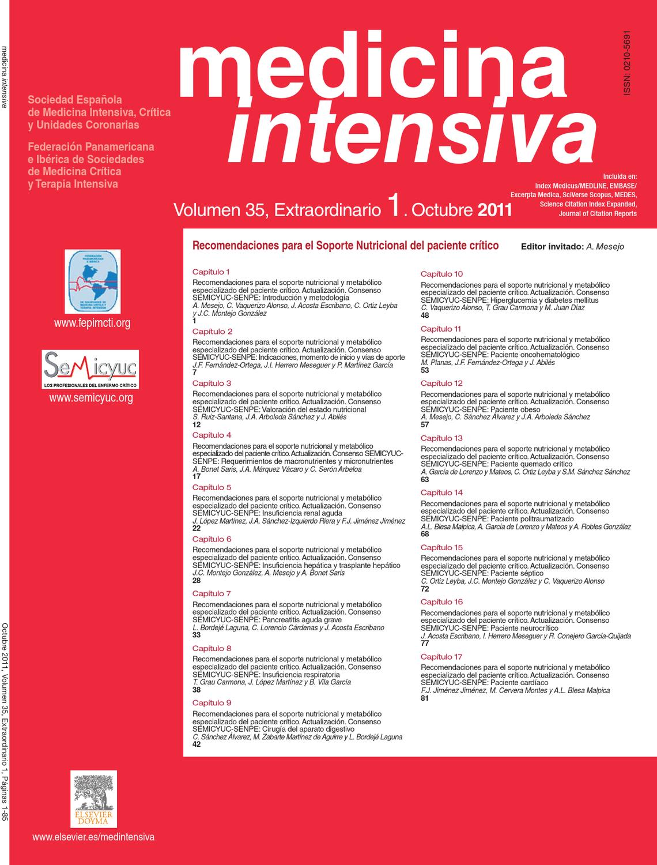 Recomendaciones para el Soporte Nutricional del Paciente Crítico by ...