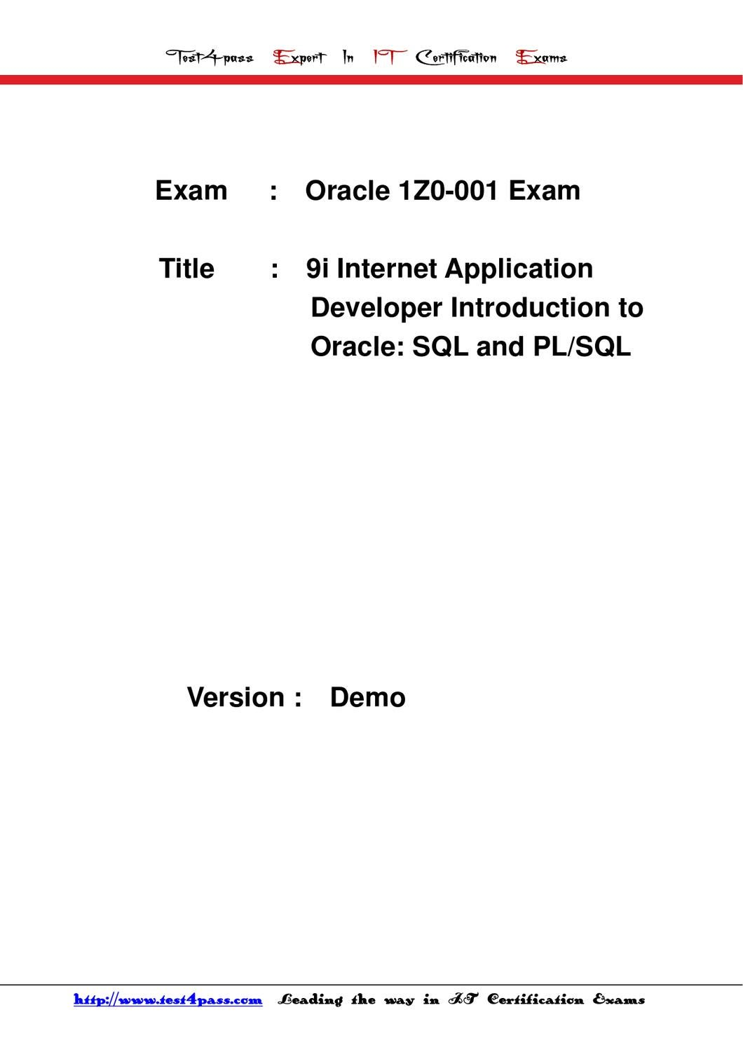 Test4pass oracle test 1z0 001 exam dumps questions answers by test4pass oracle test 1z0 001 exam dumps questions answers by tonic jackie issuu xflitez Image collections
