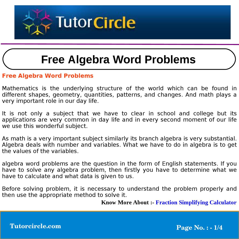 Free Algebra Word Problems by circle team - issuu