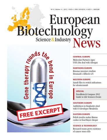 European Biotechnology News 9/2012 - Free Excerpt - Gene therapy rounds the  bend in Europe