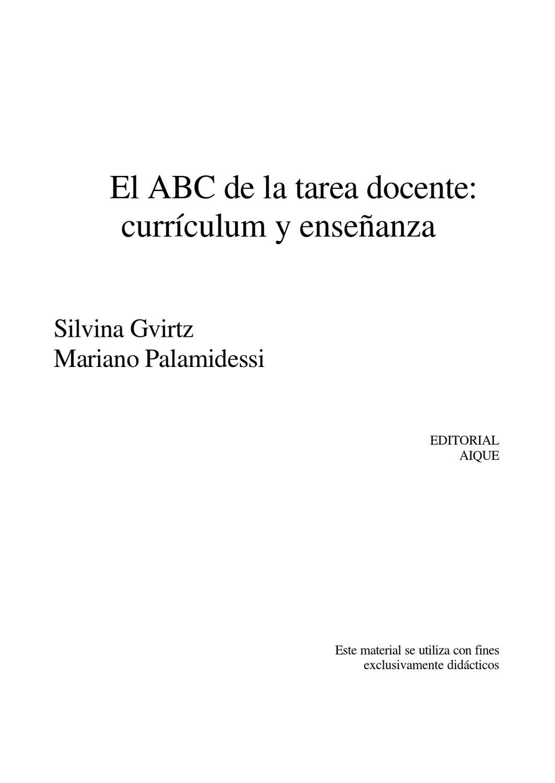 El ABC de la tarea docente:currículum y enseñanza by Eliana ...