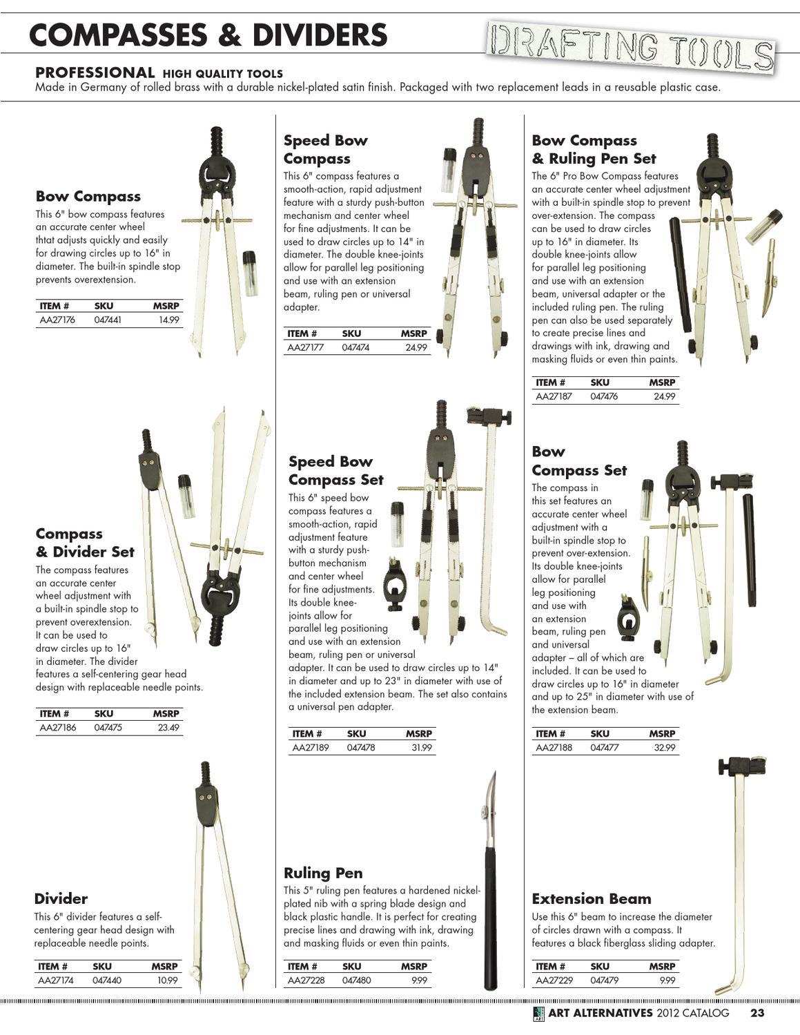6 Pro Bow Compass /& Divider Set Art Alternatives