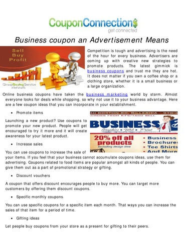 Business coupon an Advertisement Means by coupon connection - issuu