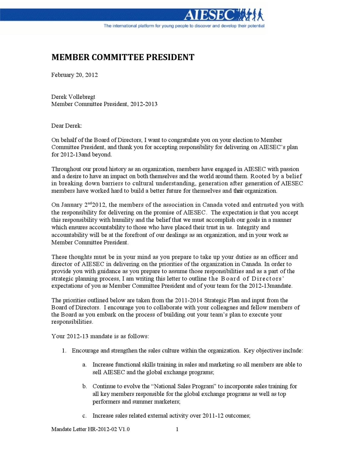 Board Of Directors Mandate Letter By AIESEC Canada