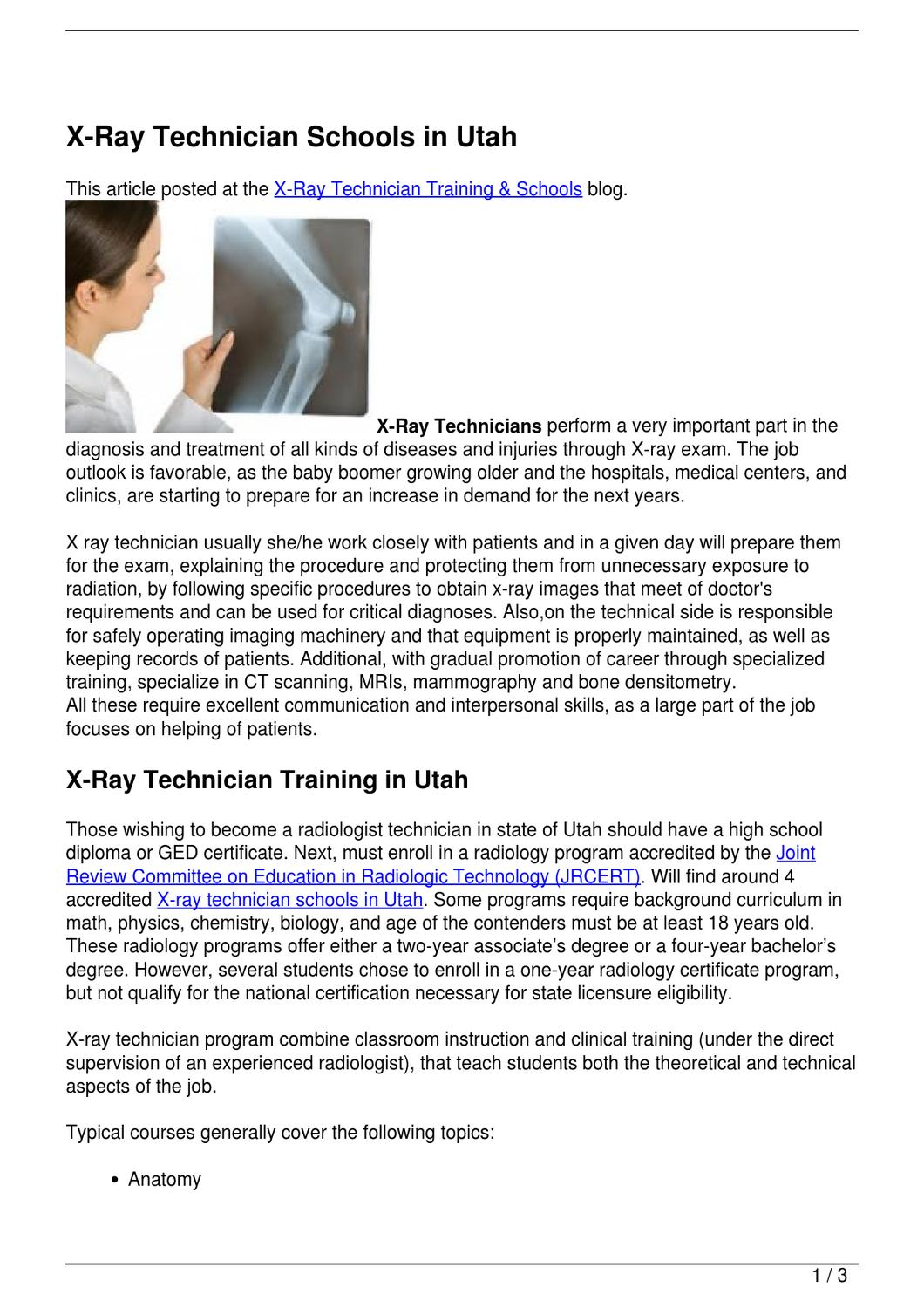 X Ray Technician Schools In Utah By Becky Vallejo Issuu