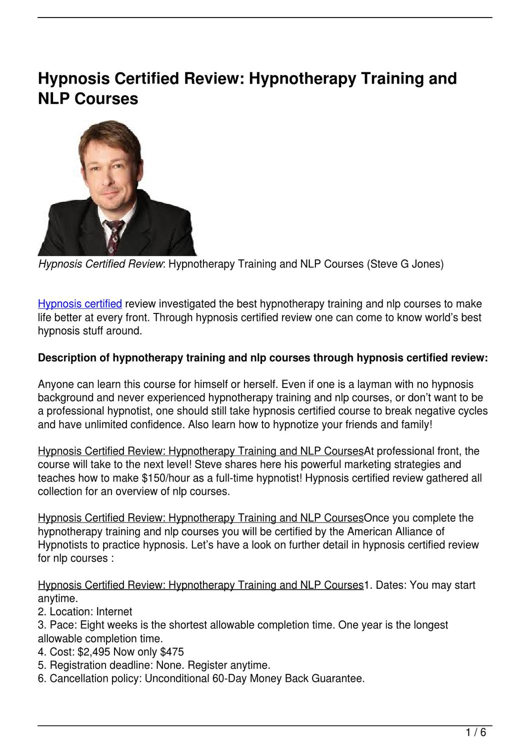 Hypnosis Certified Review Hypnotherapy Training And Nlp Courses By