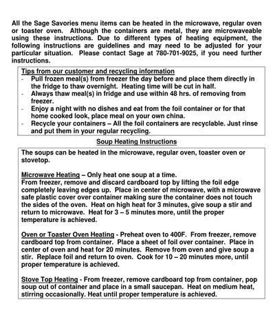 Sage Heating Information