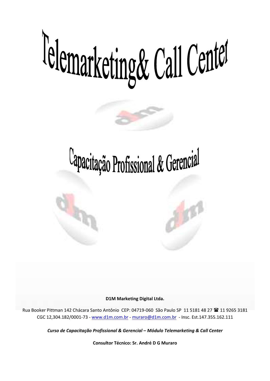 Apostila Telmarketing Call Center By D1m Marketing