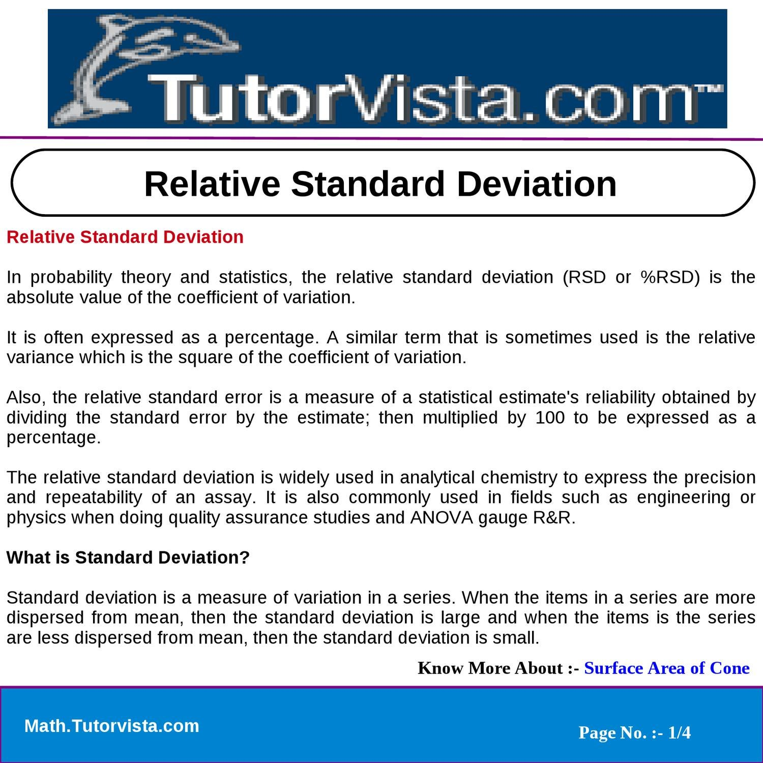 Relative Standard Deviation By Jivan Kumar Issuu