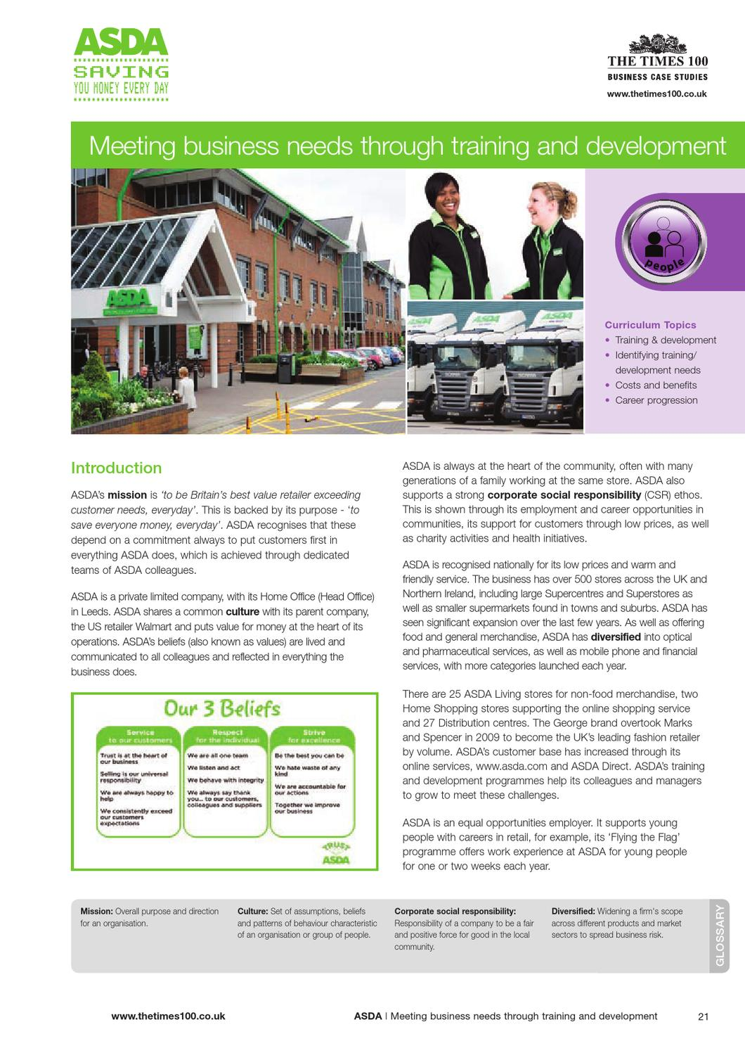 Research for employee training by lisa whitaker issuu - Asda stores ltd head office ...