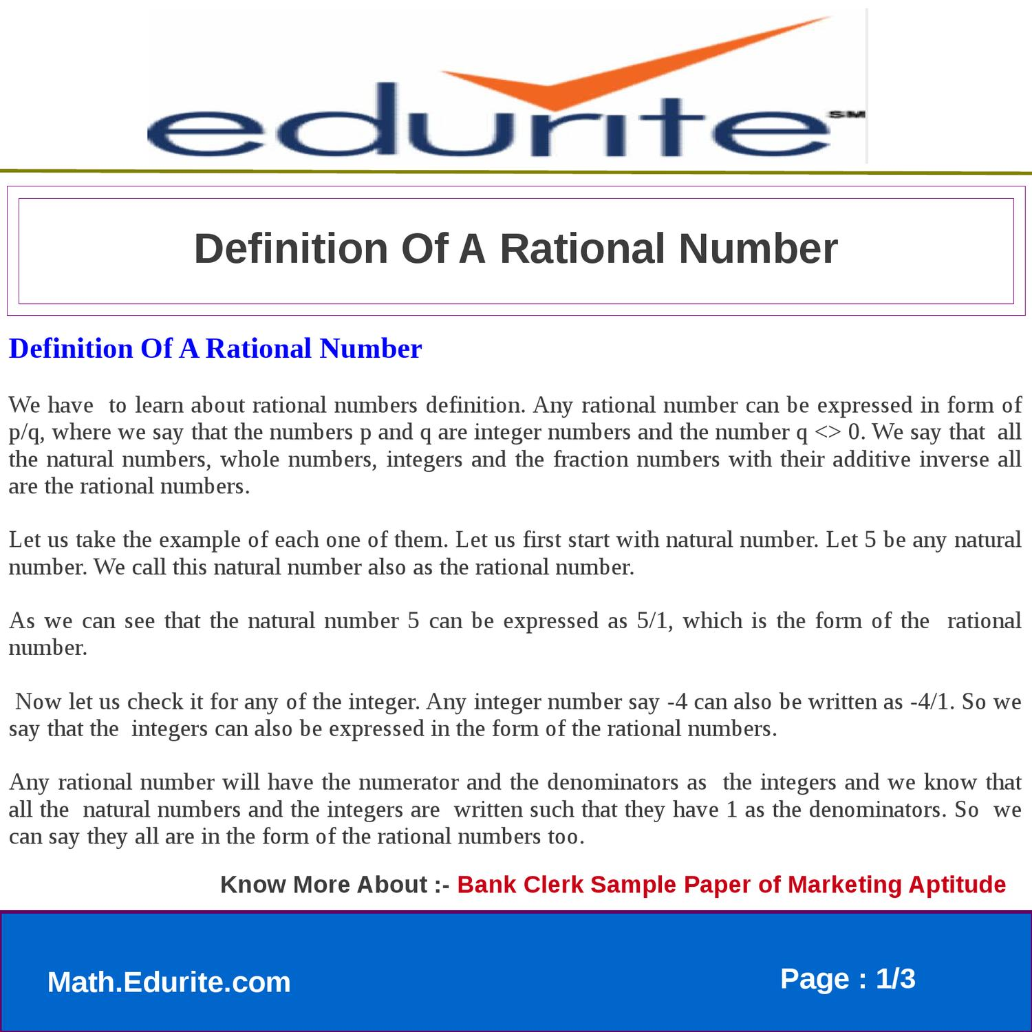Definition Of A Rational Number By Kabir Jain Issuu