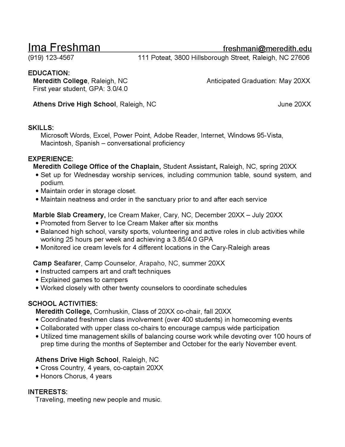 Freshman Resume Sample By Meredith College Academic Career Planning Issuu