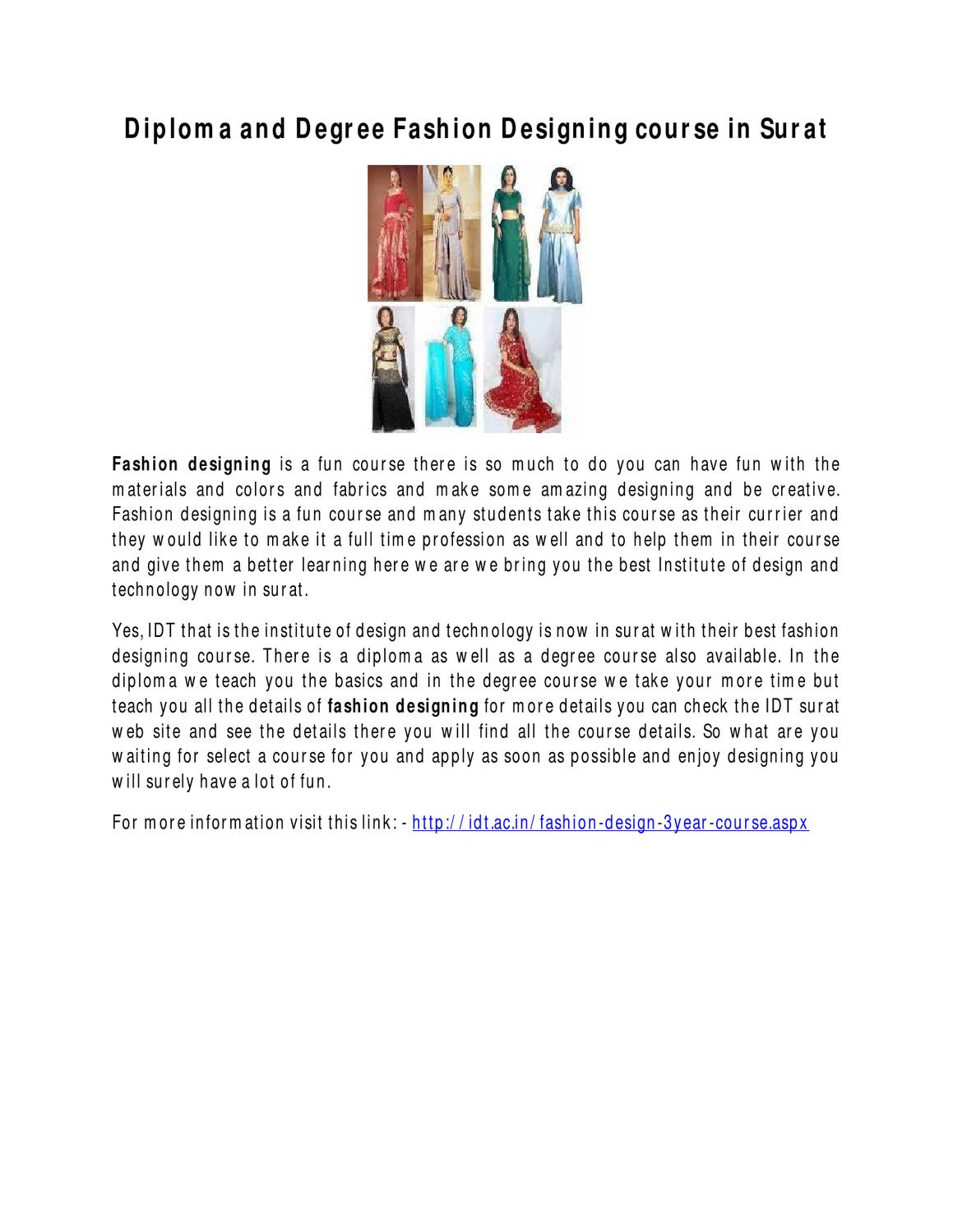 Diploma And Degree Fashion Designing Course In Surat By Fashion Ova Issuu