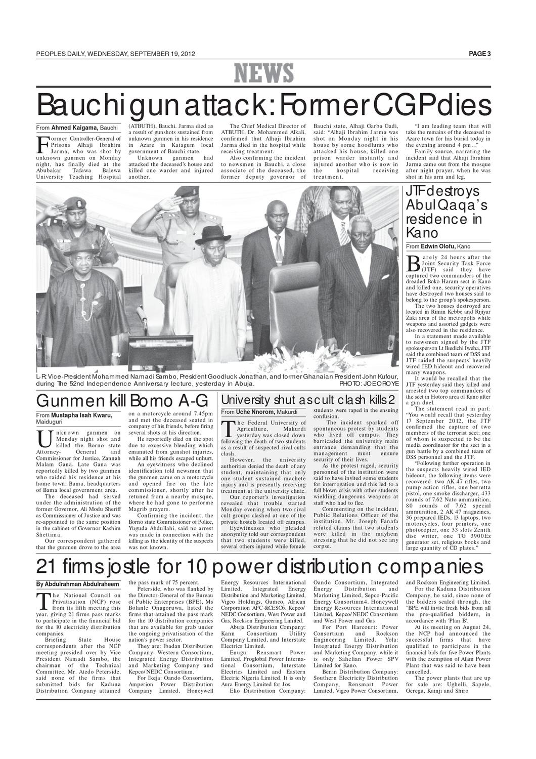 Peoples Daily Newspaper, Wednesday 19, September, 2012