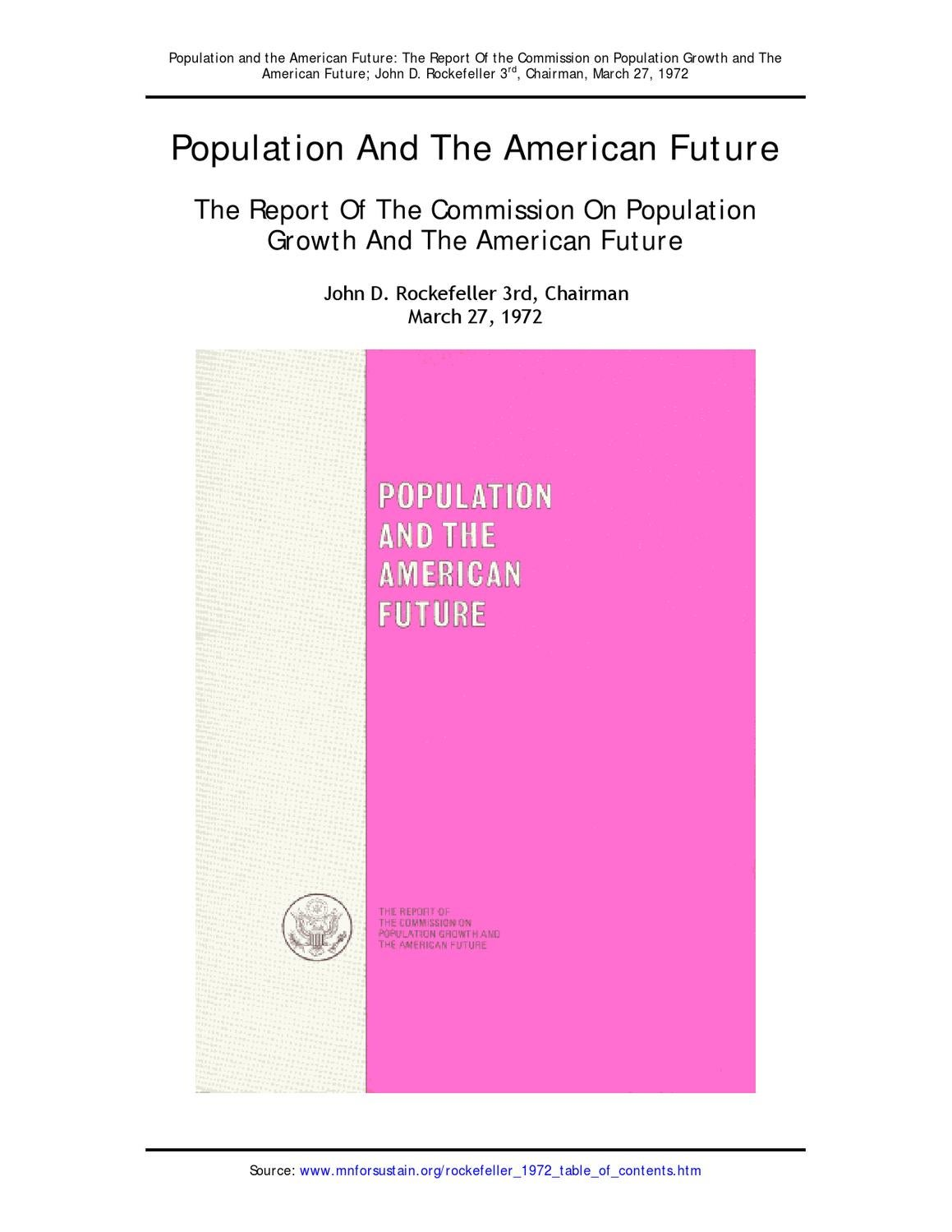 72 03 27 Rockefeller Report Commission On Pop Growth American