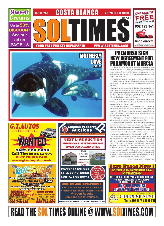 Sol Times Newspaper Issue 246 Costa Blanca Edition By Nigel