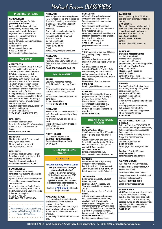 Medical Forum 09/12 by Medical Forum WA - issuu