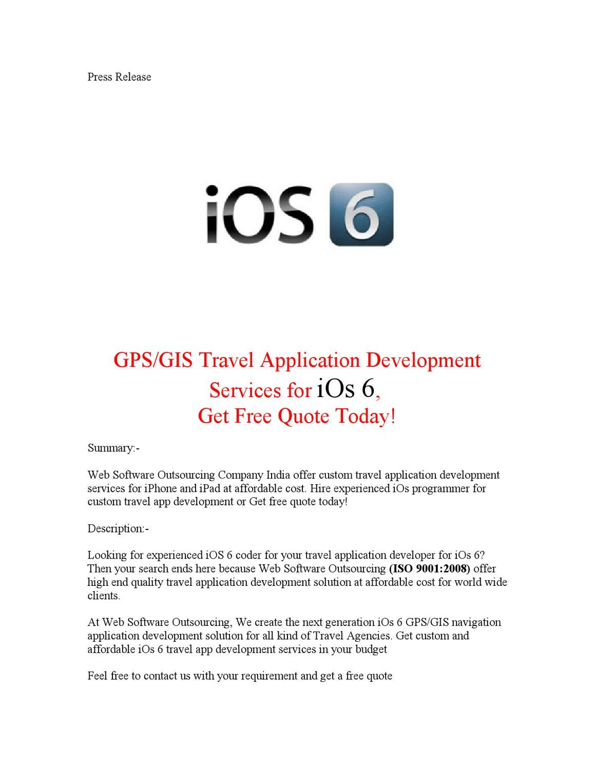 GPS/GIS Travel Application Development Services for iOs 6, Get Free