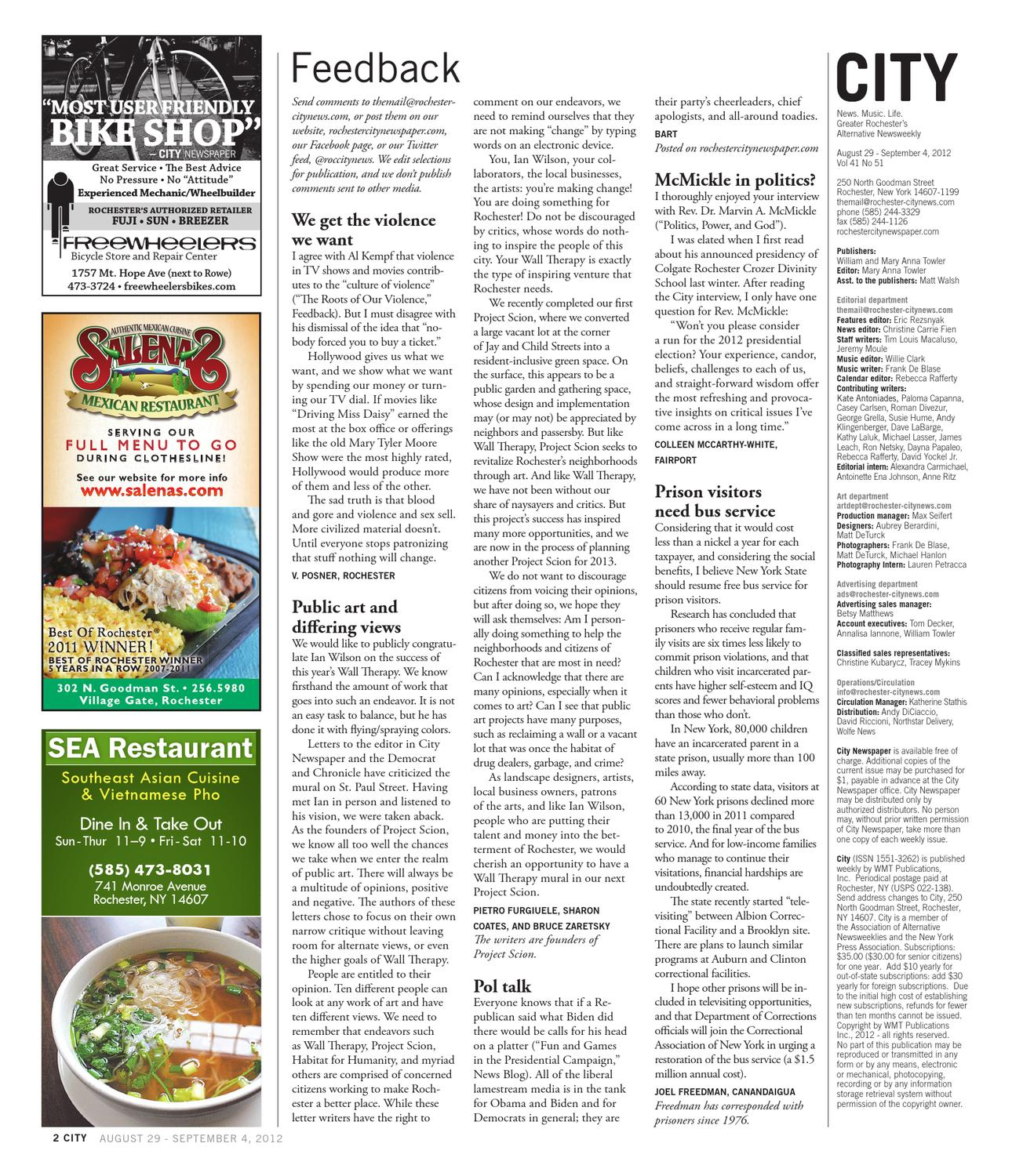 August 29 - Septmeber 4, 2012 - CITY Newspaper by Rochester
