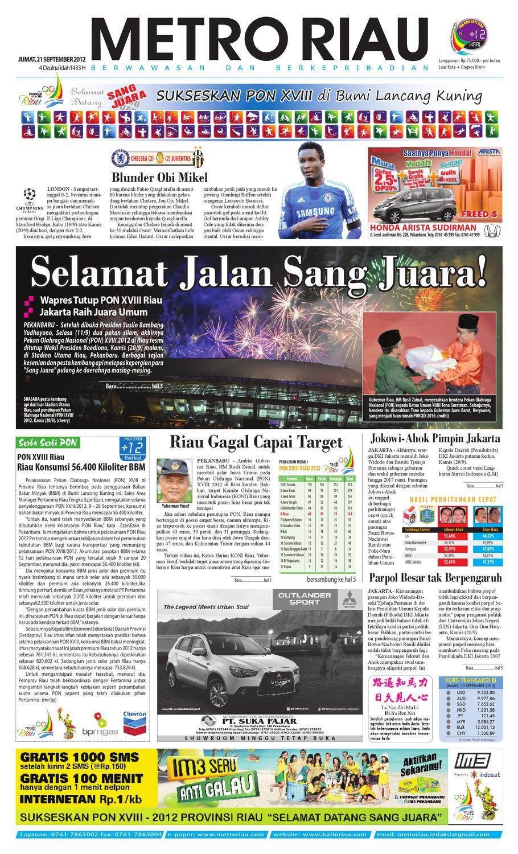 Metroriau 21 09 2012 By Harian Pagi Metro Riau Issuu Produk Ukm Bumn Sulam Usus Pmk